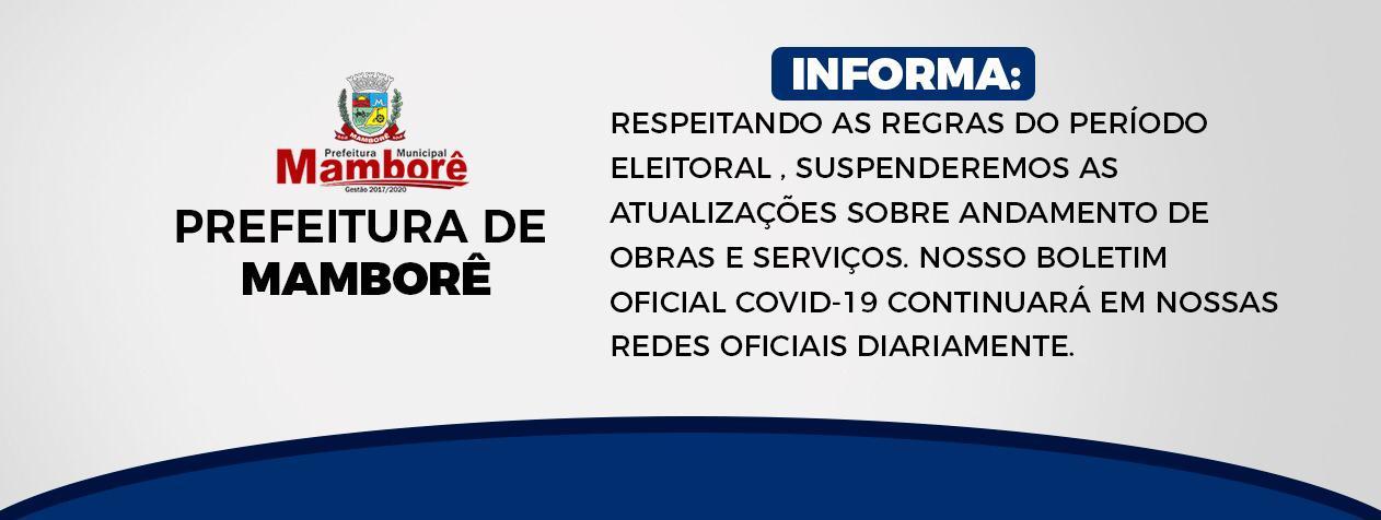 Publicações ficam suspensas na página oficial do município de 15 de agosto até 15 de novembro