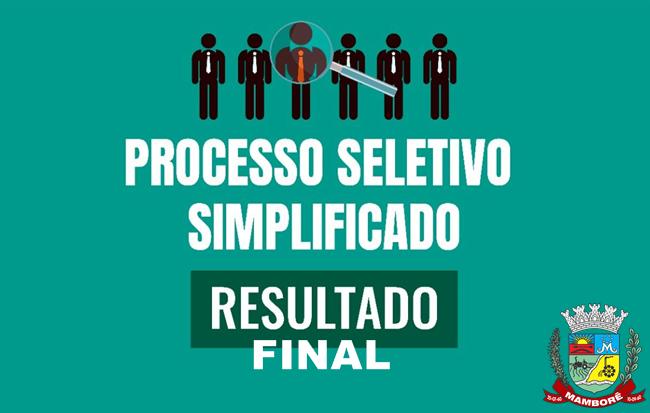 Resultado final do Processo Seletivo Simplificado Nº 10/2020 de Mamborê