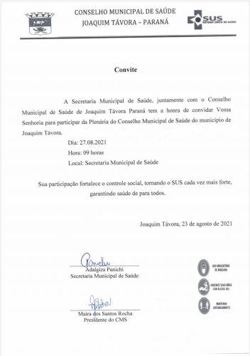 CONVITE: PLENÁRIA DO CONSELHO MUNICIPAL DE SAÚDE