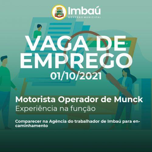 VAGA DE EMPREGO (01/10/2021)