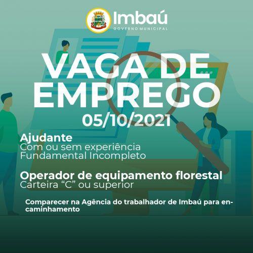 VAGA DE EMPREGO (05/10/2021)