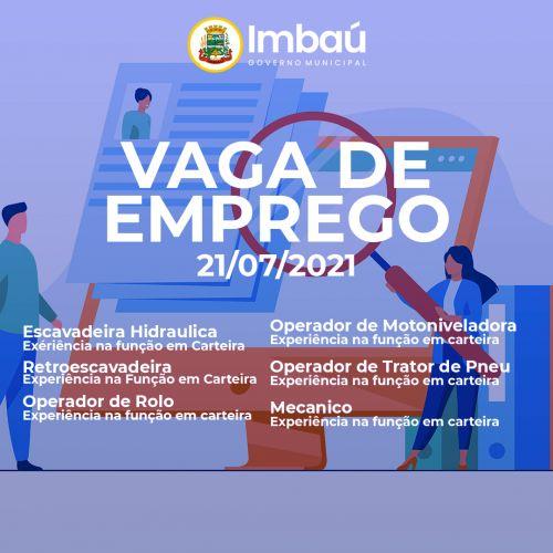 VAGAS DE EMPREGO (21/07/2021)