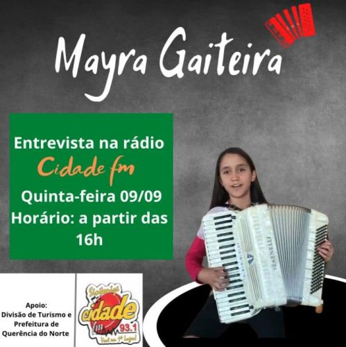 MAYRA GAITEIRA talento Querenciano concede entrevista a rádio Cidade FM 93,1