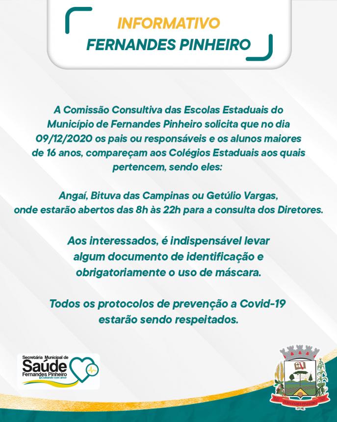 A COMISSÃO CONSULTIVA DAS ESCOLAS ESTADUAIS DE FERNANDES PINHEIRO INFORMA: