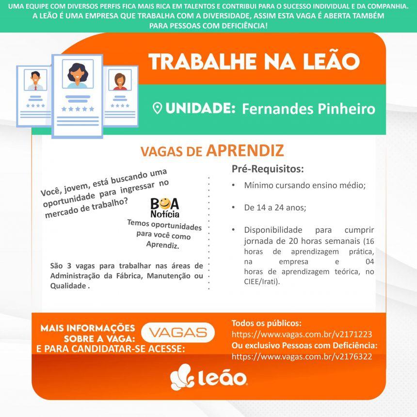 Divulgação de vagas Leão - Fernandes Pinheiro, PR