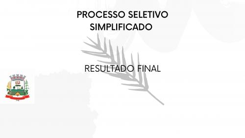 EDITAL DE PROCESSO SELETIVO SIMPLIFICADO Nº 01/2021- RESULTADO FINAL