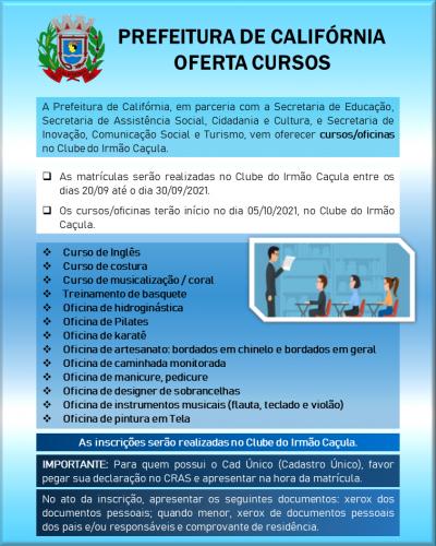 PREFEITURA OFERTA DIVERSOS CURSOS GRATUITOS