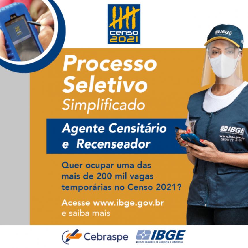 IBGE abre processo seletivo com vagas temporárias para o Censo 2021