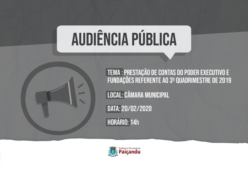 Convite   Audiência Pública do 3º Quadrimestre de 2019 do Executivo e Fundações