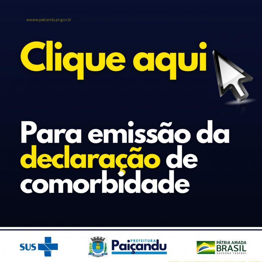 COMPROVANTE COMORBIDADE DECLARAÇÃO PADRÃO - VACINAÇÃO COVID-19
