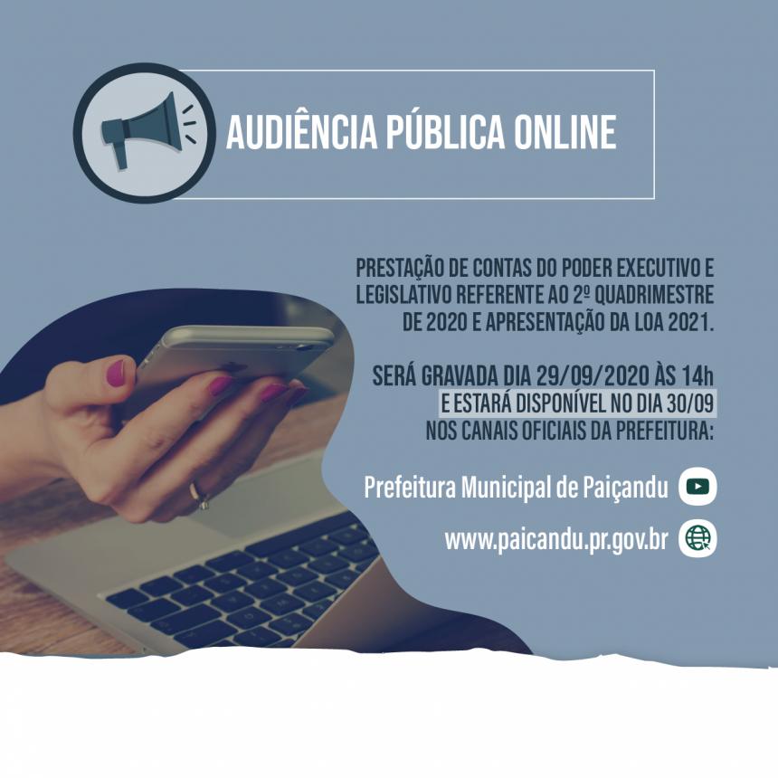 Audiência Pública online - 30 de setembro