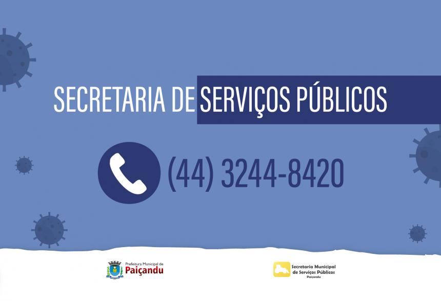 Secretaria de Serviços Públicos atende somente pelo telefone