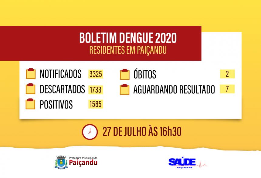 Boletim Dengue - ATUALIZAÇÃO 27 DE JULHO