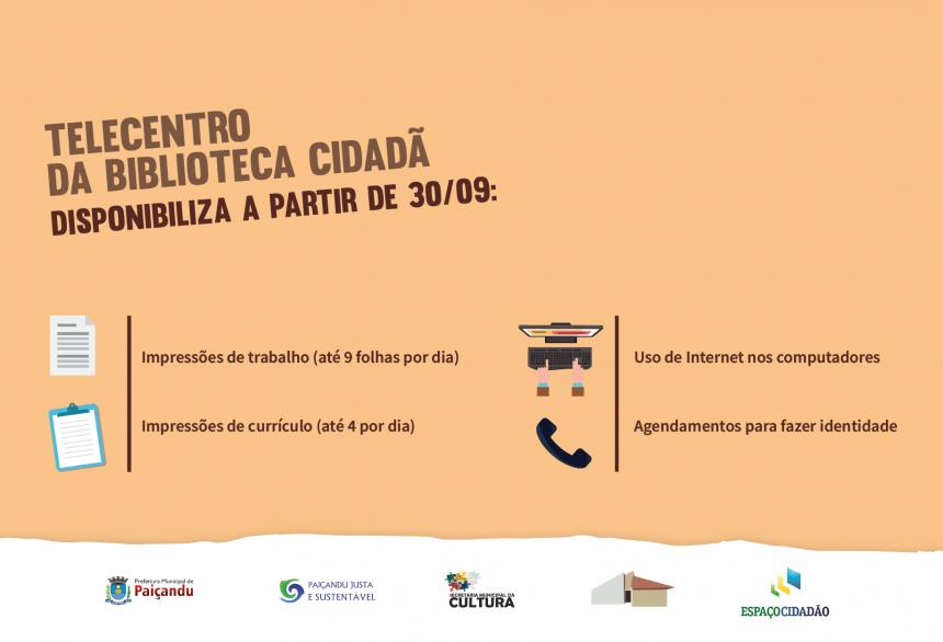 Novos serviços no Telecentro da Biblioteca Cidadã