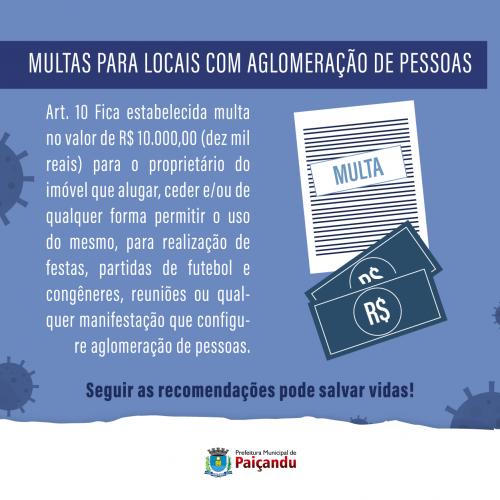 MULTAS PARA LOCAIS COM AGLOMERAÇÃO DE PESSOAS
