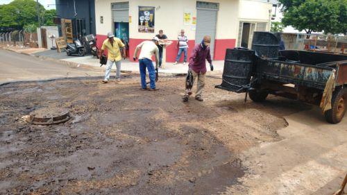 Secretaria de Serviços Públicos realiza mutirão para reparar os danos causados pelas fortes chuvas