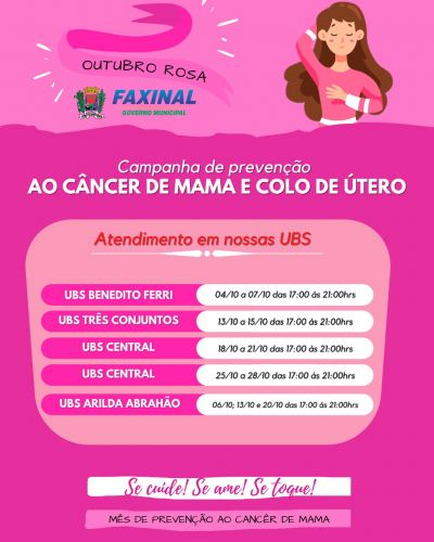 Prefeitura de Faxinal inicia atividades da campanha Outubro Rosa