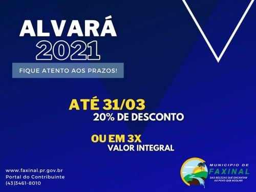 Prazo para pagar Alvará com desconto ou parcelado vai até 31 de março. Saiba como imprimir carnê na internet