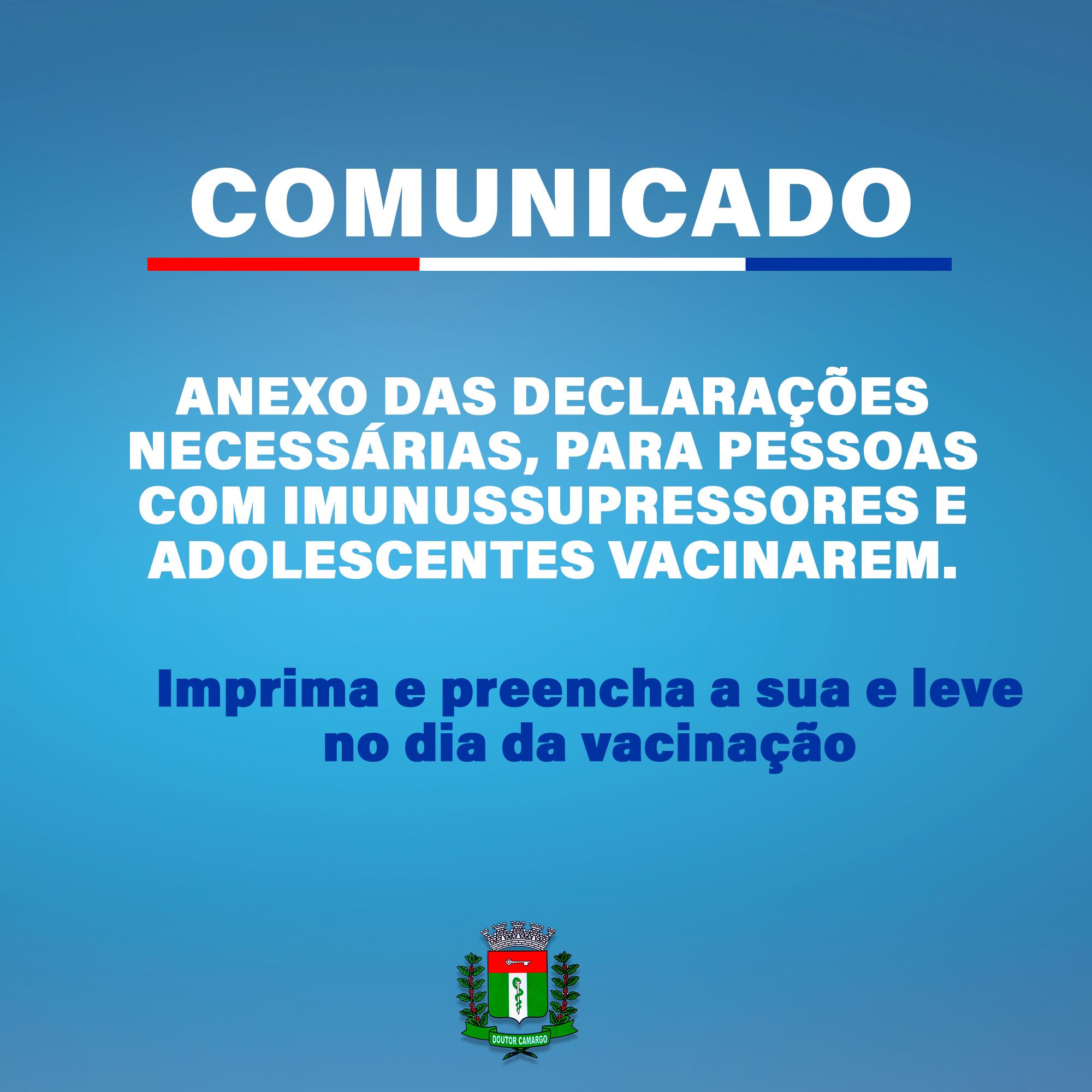 DECLARAÇÃO DE VACINA -ADOLESCENTES E IMUNUSSUPRESSORES