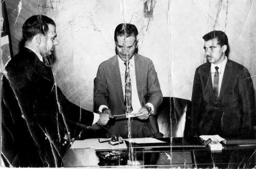 Emancipação política de Doutor Camargo em 02 de março de 1964. Dep. Est. Haroldo Lean Peres/Governador. Ney Braga/Vereador. Rosalino Felício dos Santos. Foto: Rosalino Felício dos Santos ? 1964.