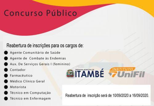 A Prefeitura de Itambé informa que foi ampliado o prazo das inscrições para o concurso público municipal