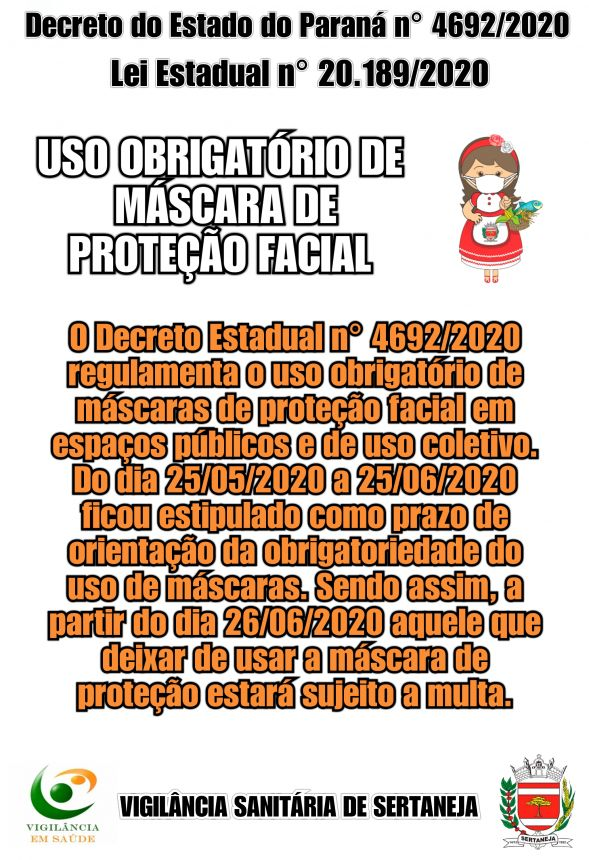 Decreto Estadual 4.692/2020 - Uso Obrigatório de Máscara de Proteção Facial