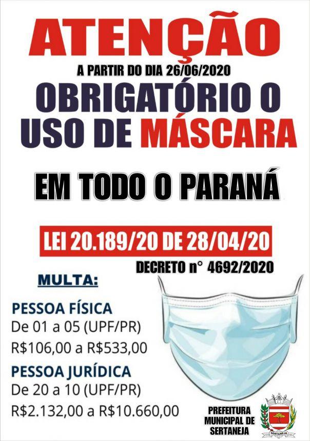 Uso Obrigatório de Máscaras de Proteção Facial em todo Estado do Paraná