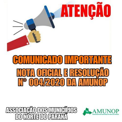 NOTA OFICIAL DA AMUNOP e RESOLUÇÃO Nº 004-2020