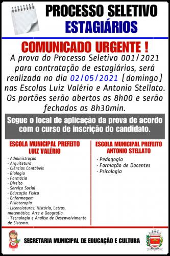 PROCESSO SELETIVO - ESTAGIÁRIOS