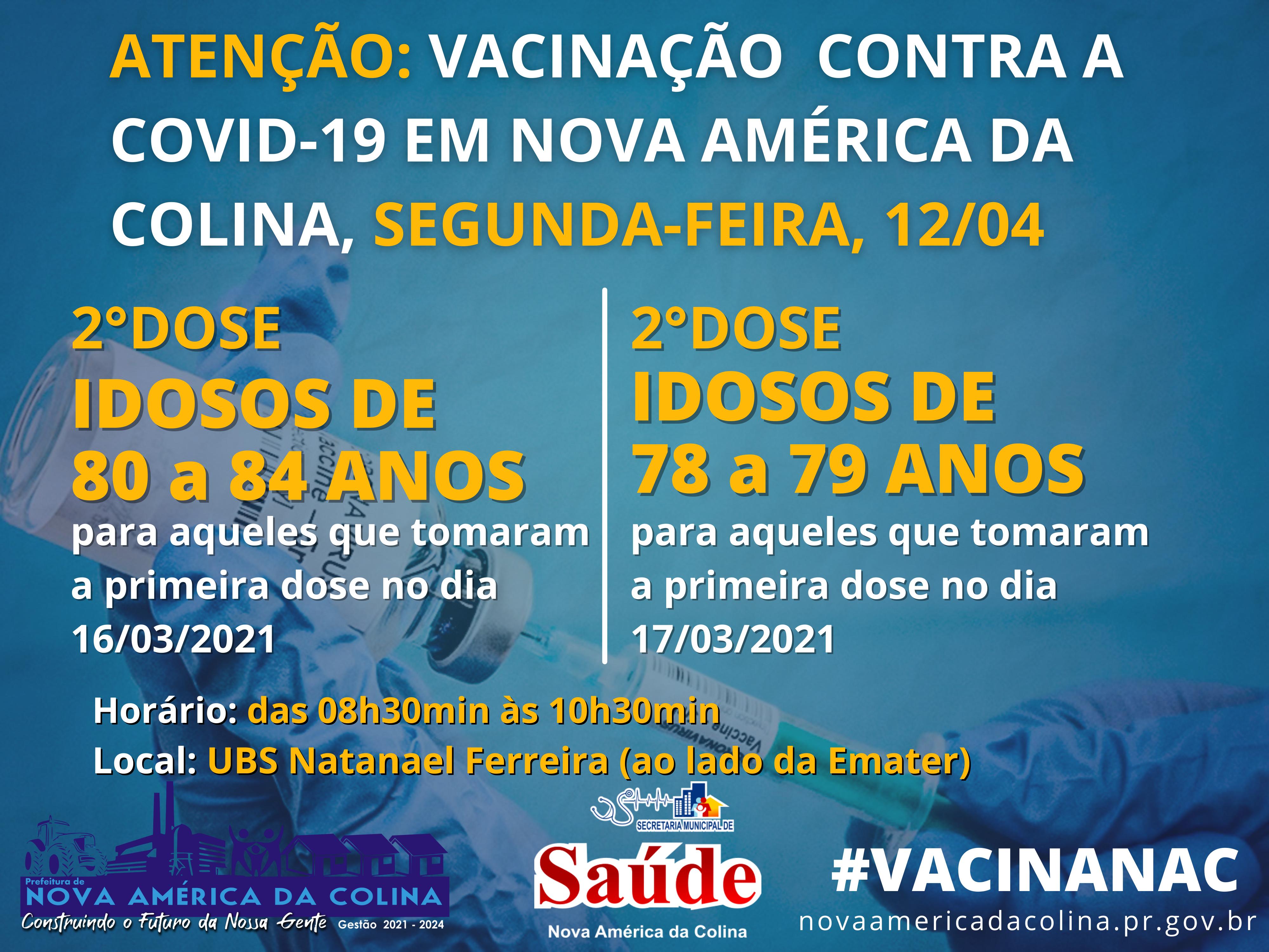 Vacinação contra a Covid-19 em Nova América da Colina nesta Segunda-feira 12/04
