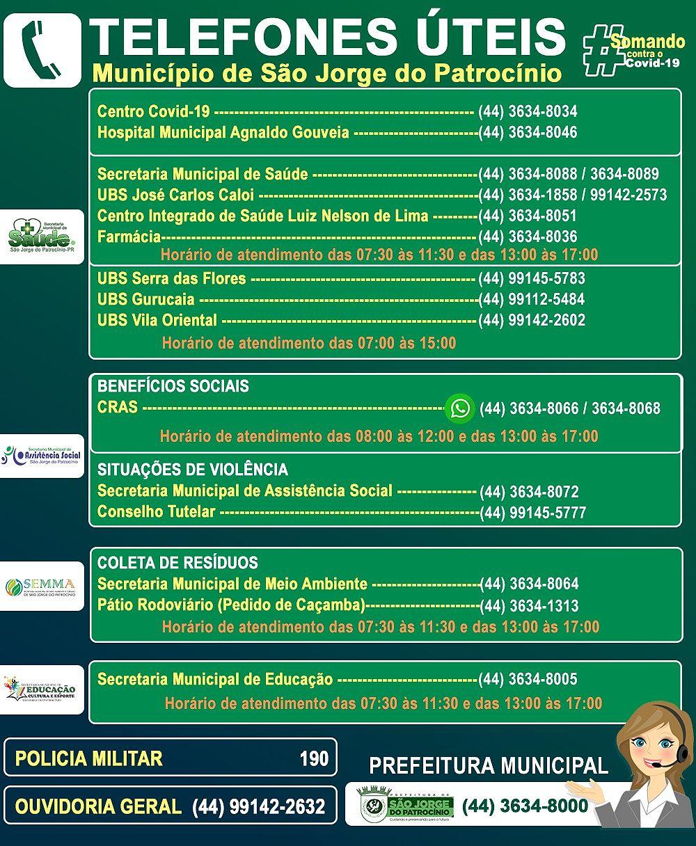 TELEFONES ÚTEIS PARA ORIENTAÇÕES, DENÚNCIAS E INFORMAÇÕES
