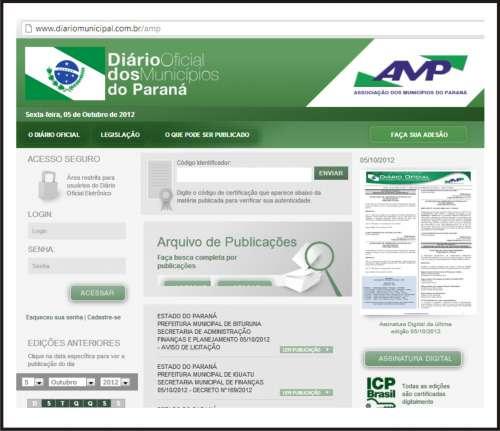 SÃO JORGE DO PATROCÍNIO ADERE AO DIÁRIO ELETRÔNICO DA AMP