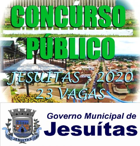 Prefeitura de Jesuítas está com inscrições abertas para o Concurso Público 2020