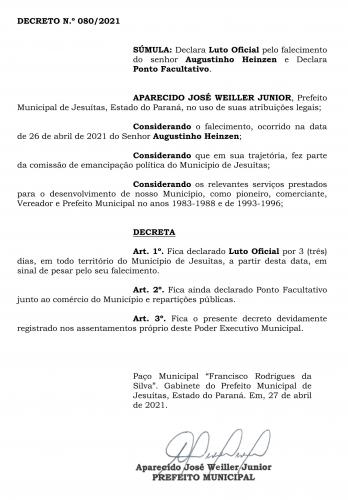PREFEITO JUNIOR WEILLER DECRETA LUTO NO MUNICÍPIO