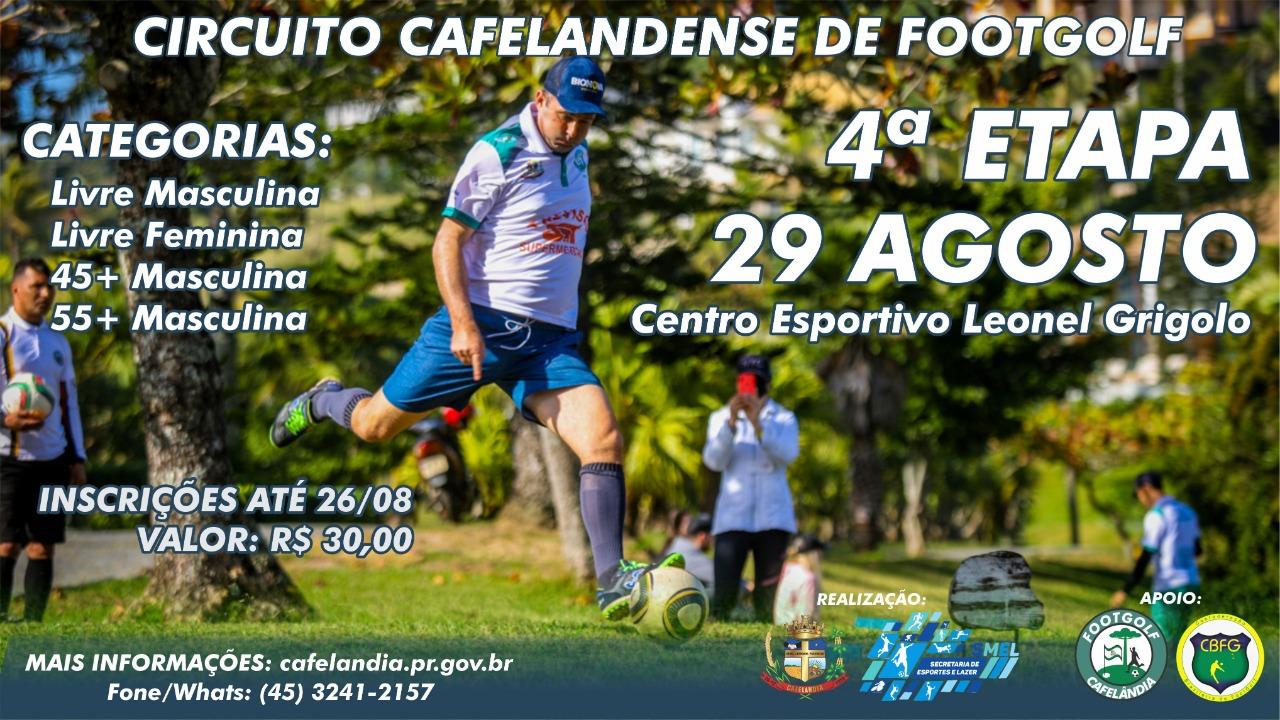 Inscrições para 4ª etapa do Circuito Cafelandense de Footgolf encerram-se amanhã (26)