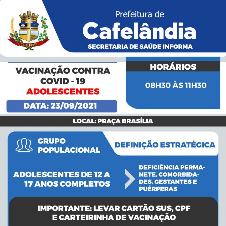 Cafelândia vacina na quinta-feira (23) adolescentes entre 12 a 17 anos com comorbidades