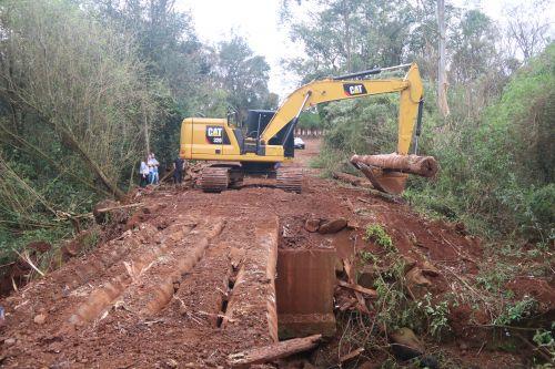 Cafelândia inicia a reconstrução da ponte na Linha Pianessa