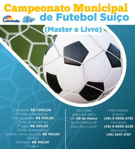 Inscrições abertas para o Campeonato Municipal de Futebol Suíço de Cafelândia