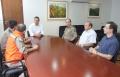 Os membros do 5º Grupamento de Bombeiros foram recebidos no gabinete pelo prefeito, vice-prefeito e presidente do Legislativo