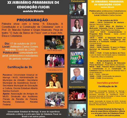 Começa nesta quinta-feira o 20º Seminário Paranaense de Educação Fiscal em Ubiratã
