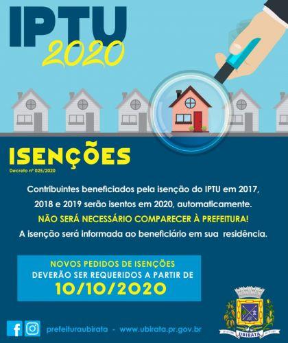 Prorrogado prazo de pagamento à vista e parcelado do IPTU 2020 e novidades na isenção; confira