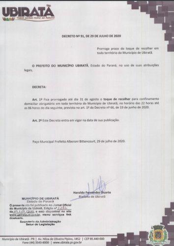 """Prorrogado """"Toque de Recolher"""" em Ubiratã"""