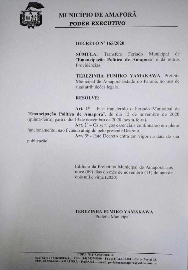 DECRETO 165-2020 - TRANSFERE FERIADO MUNICIPAL DE EMANCIPAÇÃO POLÍTICA DE AMAPORÃ.