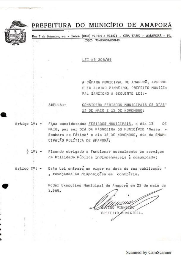 CONSIDERA FERIADOS MUNICIPAIS OS DIAS 13 DE MAIO E 12 DE NOVEMBRO