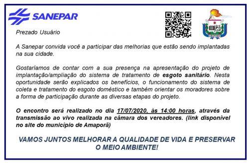 Convite Sensibilização Esgoto Sanitário -