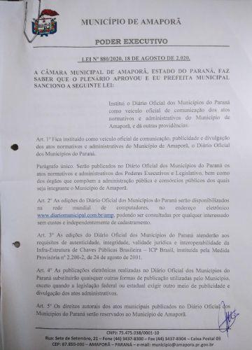Diário Oficial do  Municipio de Amaporã - AMP