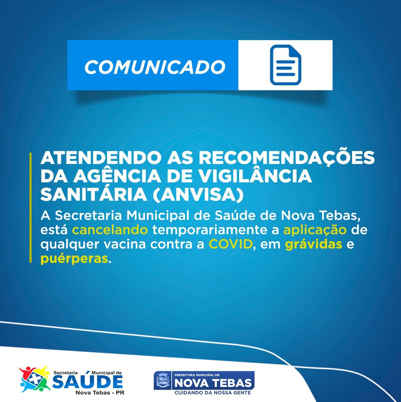 Vacinação CANCELADA para Grávidas e Puérperas