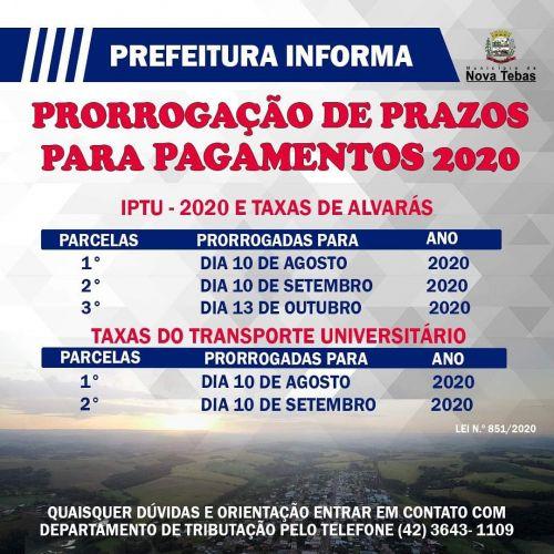 Prefeitura Informa: Prorrogação de prazos para pagamentos 2020.