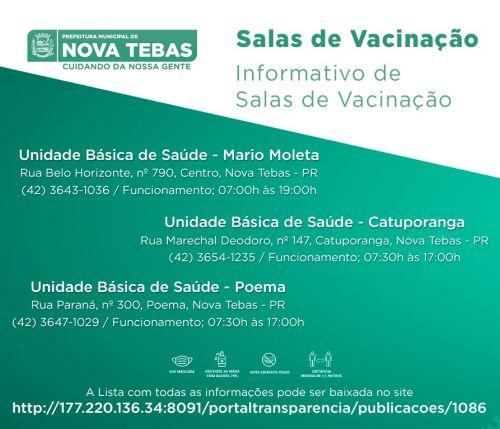 Informações COVID-19 - Salas de vacinação
