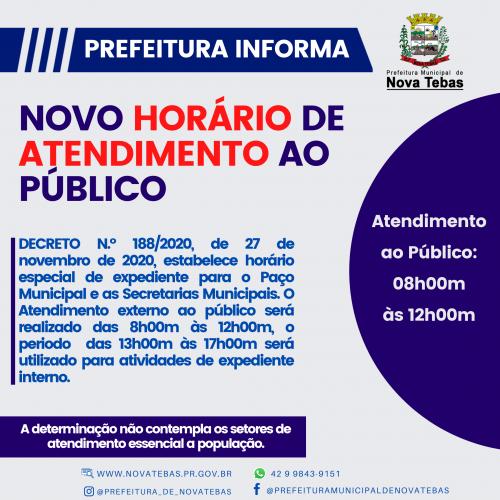 novo horário de atendimento ao Público